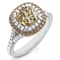 1.66ct Champagne Brown Diamond Double Halo Engagement Ring
