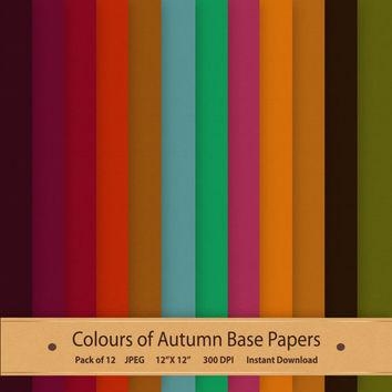 Colours of Autumn Base Papers Autumn Scrapbook Backgrounds Digital Download Autumn Colors Textured Paper Printable Orange Green Purple Red