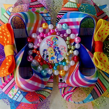 Equestria girls Hair Bow , My Little pony Girls Layered Bow , stacked bow , ott bow