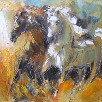 Horses, giclee print of original oil painting,gallop,fine art paper print