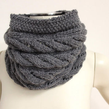 Dark Gray Cowl, Gray Knit Infinity Scarf, Wool Snood, Gray Cable Knit Cowl, Knit Cirle Scarf, Wool Neck Warmer,Gray Winter Scarf,Chunky Cowl