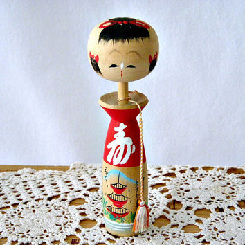 Vintage Japanese Hand Painted Tall Creative Kokeshi Doll, Signed