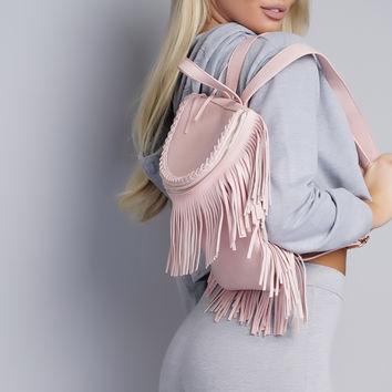 Zipper Fringe Backpack - Pink