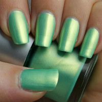 Golden Apple Franken Nail Polish - Green with gold shimmer color