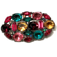 Art Deco Rhinestone Brooch, Czech Multi Color Glass, Pot Metal, Vintage 1930s, Jewel Tones, Oval Shape, Green, Ruby Red, Pink Citrine