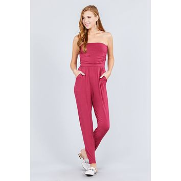 Strapless Tube Top W/front Slanted And Pocket Rayon Spandex Jumpsuit ()
