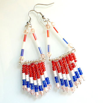 Patriotic Earrings 4th of July Jewelry USA Earrings Red White Blue Jewelry Flag Earrings Native American Beadwork Blue Jewelry Beaded Jewel