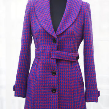 Retro Pink Blue Checkered Shawl Collar Fit and Flare Wool blend Coat -  ORT284