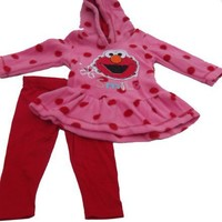 Elmo Infant Girls Knit Hooded Pullover and Legging Set
