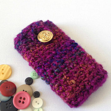 Purple iPhone 5 Case, Crochet Phone Sleeve, Soft Cell Cozy, Purple And Rainbow Stripes, Thick Yarn Case, Chunky Lumia Sleeve, Hand Crocheted