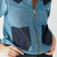 Lykke Wullf Two-Tone Denim Ranch Jacket | Urban Outfitters