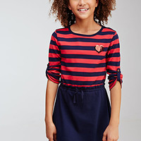 Striped Sequin Heart Combo Dress (Kids)