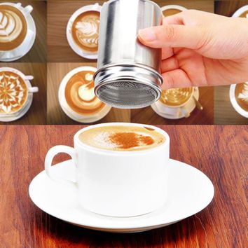 Stainless Chocolate Shaker Cocoa Flour Icing Sugar Powder Coffee Sifter Lid Shaker Coffee Accessories Cooking Tools