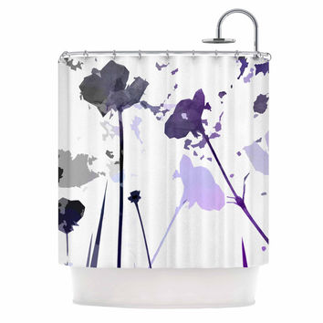 "Alison Coxon ""Poppies Indigo"" Purple Black Shower Curtain"