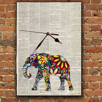 Wall Clock Elephant Vintage Newspaper Vivid Colors modern connection