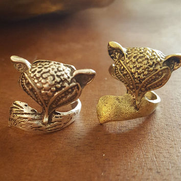 Vintage Ring Fox Antique Gold plated Antique Silver resizable ring Statement Ring