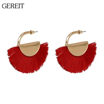 GEREIT Brand Ethnic Tassel Earrings Big Sector Shape Bohemian Fringed Dangle Earrings For Women Summer African Indian Jewelry