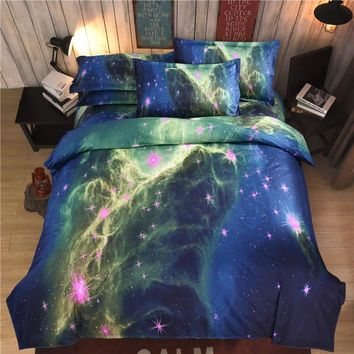 iDouillet Classic Galaxy Nebala Bedding Set 3D Printed Outer Space Duvet Cover Flat Sheet Pillowcase Twin Queen Size Bedclothes