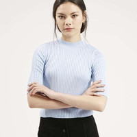 Knitted Half Sleeve Pullover Crop Top