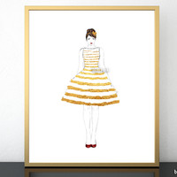 "Printable fashion illustration of a gold stripped summer dress, 8x10"" & 16x20"""