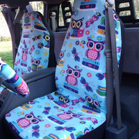 Reserved for Sabrinabaxley15, Full Set of Glow in the Dark Smart Owl Print Seat Cover and  Steering Wheel Cover Custom Made.