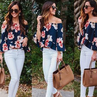 2016 Floral Printed Off Shoulder Boat Neckline Casual Party Playsuit Clubwear Bodycon Boho Top Shirt T-Shirt _ 8831