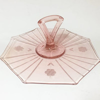 Pink Depression Glass Tidbit Tray, Pink Glass Center Handle Tray, Etched Pink Glass Plate