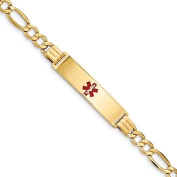 14K Yellow Gold Medical Polished ID Red Enamel with Semi-Solid Figaro Bracelet