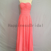 Coral sweetheart chiffon prom dress with pleat,long prom dresses,bridesmaid dress,chiffon prom dress,simple evening dress 2014,formal dress