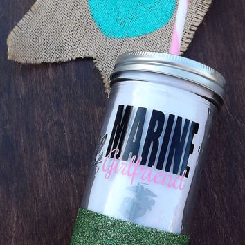 Marine Girlfriend // Glitter Dipped Mason Jar Tumbler
