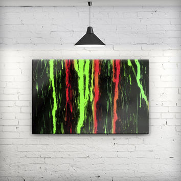 Running Neon Green and Coral WaterColor Paint - Fine-Art Wall Canvas Prints