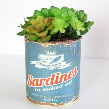 """Artificial Potted Plants Succulent Garden in Tin Can - 7"""" Tall"""