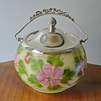 RESERVED FOR AH Vintage Biscuit Barrel, Signed By Artist, Floral Biscuit Jar, Glass And Silver Plate Cookie Jar