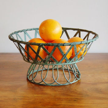 Verdigris Wire Pedestal Basket, Aqua Turquoise Patina Round Woven Metal Fruit Basket Plant Stand, French Parisian Inspired