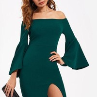 Green Off The Shoulder Exaggerate Flare Sleeve Dress Fall Long Sleeve Slit Pencil Dress Elegant Dress