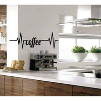 Coffee Heartbeat, Removable Wall Art Vinyl Graphic Decal - Home Decor Vinyl Mural