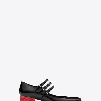 Saint Laurent Babies 40 Triple Strap Mary Jane Shoe In Black Patent Leather And Red Glitter Fabric | ysl.com