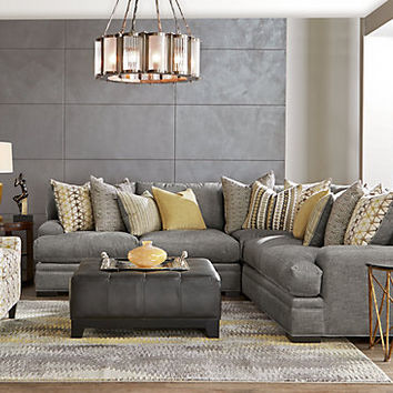 Cindy Crawford Home Palm Springs Gray 3 Pc Sectional - Living Room Sets (Gray)
