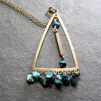 Triangle Pendant Bohemian Necklace - Triangle Necklace with turquoise