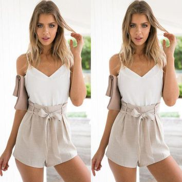 VONE5YD Women's Fashion Summer V-neck Patchwork High Waist Jumpsuit