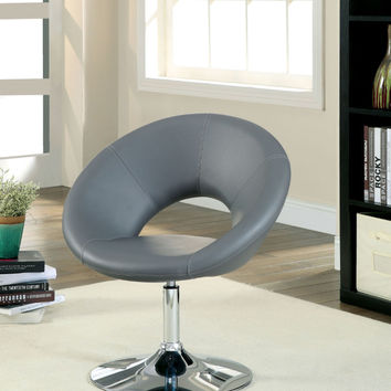 Furniture of america CM-AC6915GY Faliro gray leather like vinyl open back round swivel accent side chair