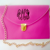 Monogrammed Clutch Purse Cross Body Detachable Chain Gift Under 40 Dollars