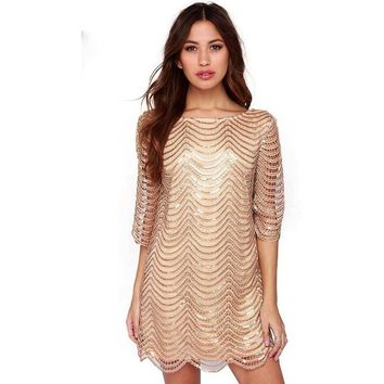 Sequin Strand Shift Dress With Sleeves