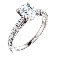 1.25 Ct Oval Diamond Engagement Ring 14k White Gold