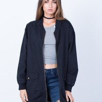 Long Zippered Bomber Jacket