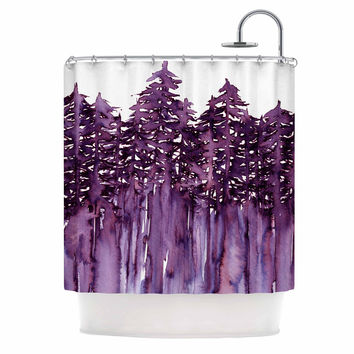 "Ebi Emporium ""Forest Through The Trees 2"" Purple White Shower Curtain"
