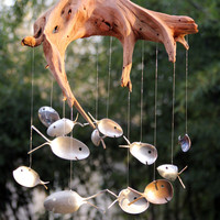 Driftwood & antique silver spoon fish windchime