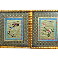 Asian Silk Embroidered Tapestry Bamboo Framed Chinoiserie Art Work Pair