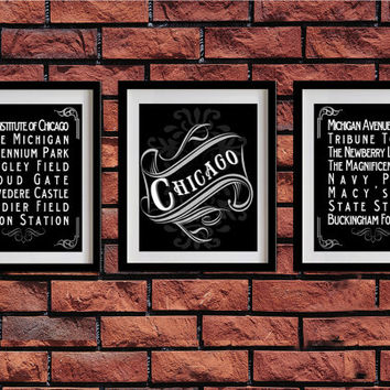 Chicago, Illinois, Typography Art Poster - Vintage Map Typography, Chalk Art - Chicago's Attractions Wall Art Decoration - 003-S3