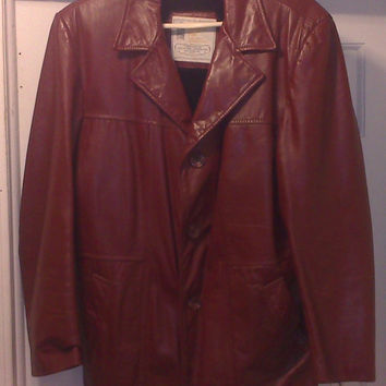 Vintage 1960s Burgundy/Red Genuine Leather Button Up Jacket by London Fog